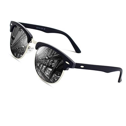 CGID MJ56 clubma Retro Vintage Sonnenbrille im angesagte 60er Browline-Style mit markantem Halbrahmen Sonnenbrille,Matte Schwarz-Grau