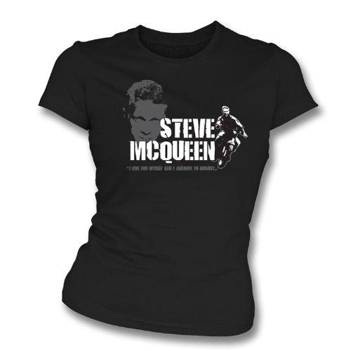 TshirtGrill Steve McQueen - das große Entweichenmädchen slimfit T-Shirt X-Groß, Farbe- Schwarzes