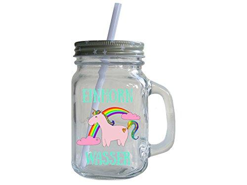 Retro-Trinkglas-mit-Deckel-und-Strohhalm-EINHORN-WASSER-Mason-Jar-Rosa-Geschenk-Glas-mit-Henkel
