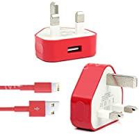 Amazing Colors Plug Charger+FREE Cable For iPhone 5 se 5s 6 6+ 7+ 7 iPad Mini 2 (Red)