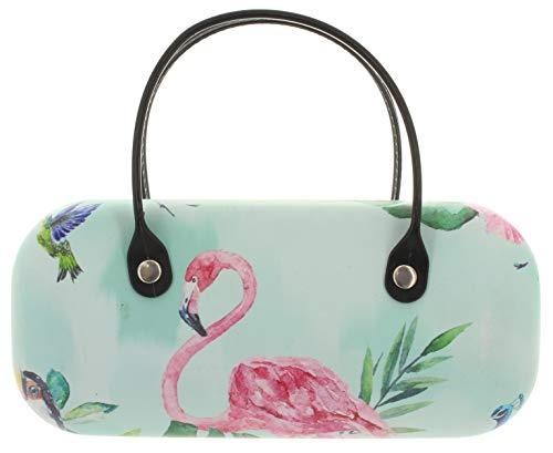 MIK funshopping Brillenetui Mini-Tasche mit Henkeln Paradies Jungel türkis (Flamingo)