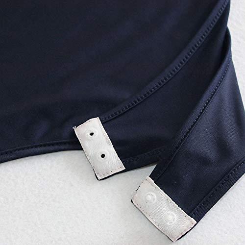 FIRSS-BH Damen Bodysuit V-Ausschnitt Bodys Oversize Langarmshirt Elegant Strampler Basic Overalls Playsuit Langarm Pullover Zipper Bluse Oberteile Baumwolle Nachtwäsche XL - 7