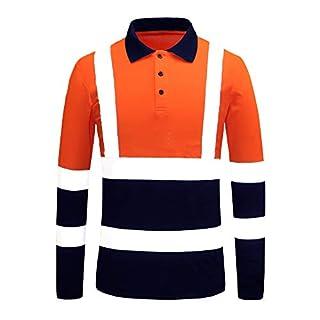 AYKRM Work Wear High Visibility Hi Vis Yellow Polo Shirt hi vis t Shirt (M, Orange)