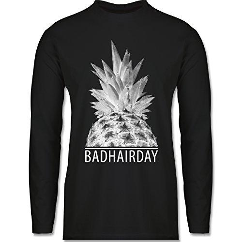 Shirtracer Statement Shirts - Badhairday - Ananas - Herren Langarmshirt Schwarz