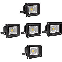 SAILUN 10W luz Foco LED blanco cálido foco exterior - Foco de pared (aluminio IP65, impermeable, 5 unidades), color negro/plata