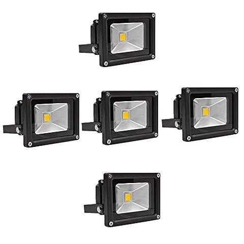 SAILUN 10W LED Fluter Warmweiß Strahler Licht Scheinwerfer Außenstrahler Wandstrahler Aluminium IP65 Wasserdicht 5 Stück