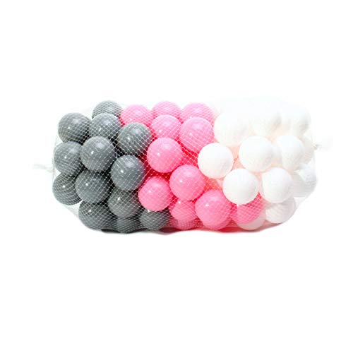 4L Textil 100 Stück Bälle für Bällebad 7cm Bälle für Kinder Bällebäder Babybälle Plastikbälle Ballpool Ohne Weichmacher (Rosa, Weiß, Grau) - Hunde Für Bällebad