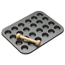 MasterClass 24-Hole Non-Stick Mini Tart / Canapé Tray with Pastry Tamper, 35 x 27 cm