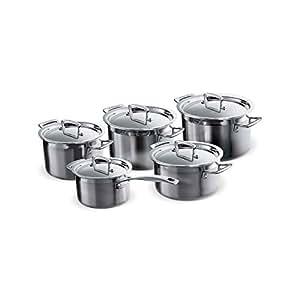 Le Creuset 96209400001000 Lot de 5 casseroles en inox multicouches