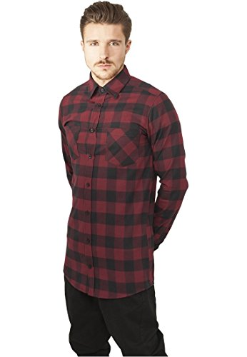 Mister Tee Hommes Long Checked Flanell Shirt TB1000 Noir / Rouge