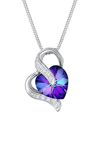 Elli Damen Kette mit Anhänger Herz 925 Sterling Silber Swarovski Kristall lila Brillantschliff 45 cm 0111862415_45