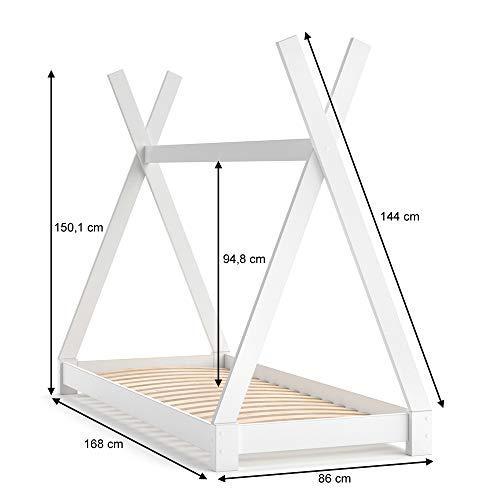 Vicco Kinderbett TIPI Kinderhaus Indianer Zelt Bett Kinder Holz Haus Schlafen Spielbett Hausbett 80×160 (Weiß) - 3