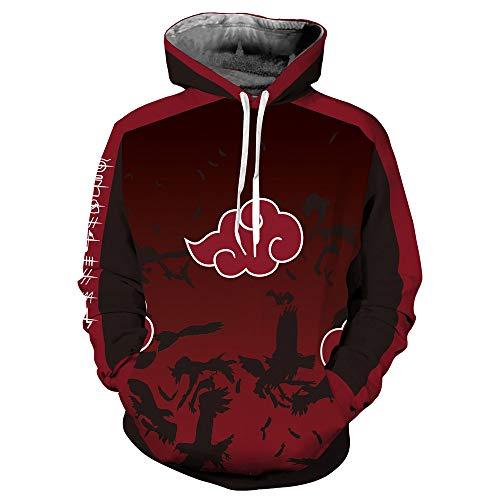 Lonimor Mens 3D Print Hoodie Pullover Sweatshirt Pullover Mit Kapuze Sweat Baseball Jersey Cosplay Langarm Naruto XL -
