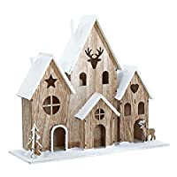Mr Crimbo Natural Wood Light Up House Christmas Decoration With 10 Warm White LED Lights 29cm Tall