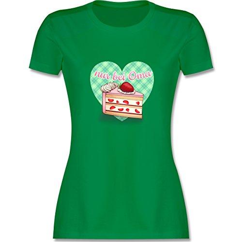 Oma - Nur bei Oma - Kuchen - tailliertes Premium T-Shirt mit Rundhalsausschnitt für Damen Grün