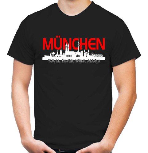 München Skyline T-Shirt | Fussball | Basketball | Bayern | Trikot | Ultras | Männer | Herren | Fanshirt (XXL)