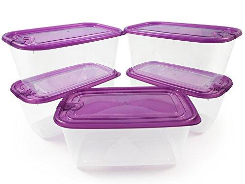 Set 5 contenitori porta pranzo per alimenti, ermetici, resistenti. materiale plastico trasparente antirotture. per microonde e congelatore - ideali per la conservazione di alimenti.