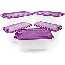 Recipiente hermético a prueba de grietas y filtraciones de alta resistencia– Set de 5 – Utilizable en microondas y congeladores – Ideal para almuerzos y cenas