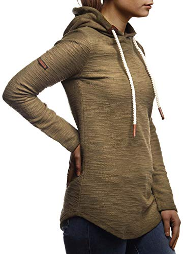 LEIF NELSON Damen Pullover-Hoodie Kapuze Kapuzenshirt   Moderner Sweatshirt-Kapuzenpullover   Frauen Longsleeve-Pulli Slim Fit Kapuzenpulli   LN1900 Khaki Medium