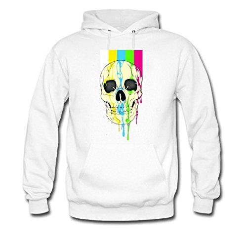 HKdiy Skull Custom Classic Men Hoodie White-1