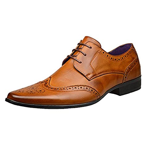 Mens New Casual Brown Leather Smart Formal Lace Up Shoes UK SIZE 6 7 8 9 10 11 (UK 5 / EU, Brown)