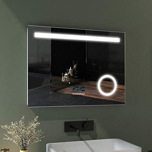 EMKE LED Badspiegel 80x60cm Beleuchtung Badezimmerspiegel Wandspiegel mit 3-Fach Vergrößerung, Bluetooth 4.1 Lautsprecher, Touch-Schalter, Uhr