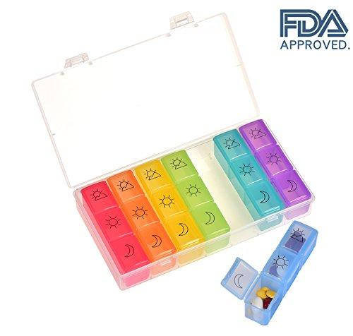 7-tage-reise-pille (Pillendose 7Tage Box & 3Times A Day Pille Organizer, Pille Reminder mit 21Fächer in einer Reise/Aufbewahrung Pille Box Case)