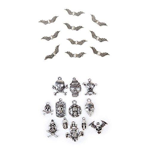 Blesiya 22x Charms Anhänger Schädel Charm und Engel Flügel form Perlen Anhänger DIY Schmuck Herstellung (Und Schädel-perlen Charms)