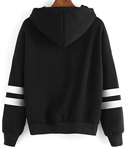 YuanYan Femme Top Sweatshirt Capuche Hoodie Col Rond Rose Broderie Pull Sweat Manche Longue Manteau Casuel Noir avec seul fleur