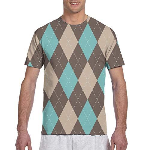 Argyle Grain Brown, Golf Green, Sattel Brown_1909 Fashion Herren Rundhals Design Kurzarm Slim Fit Freizeit T Shirt XXXL - Argyle Golf Shirt