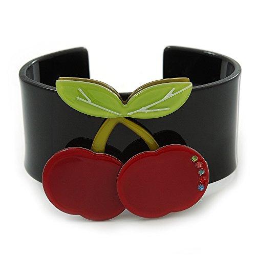 Schwarz, Light Grün, Rot Kristall Kirsche Acryl Manschette Armband–19cm L (Kirsche Armband)