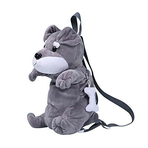 Rucksack für Kleinkinder, louisayork 3D Plüsch Tier Cartoon Kindergarten Learning Schultasche Kinder Travel Tasche für Baby Mädchen Jungen, Alter 1–3Jahre grau grau 11.8inch * 5.9inch * 4.3inch