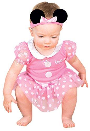 Minnie Mouse Pink Jersey Set Karneval Komplett Kostüm , Rosa, Größe 50-62, 1-3 Monate (Minnie Maus Halloween Kostüm Leicht)
