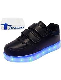 (Presente:peque?a toalla)Rojo EU 36, moda Negro Light Unisex Zapatos Up LED Hombres Mujeres JUNGL