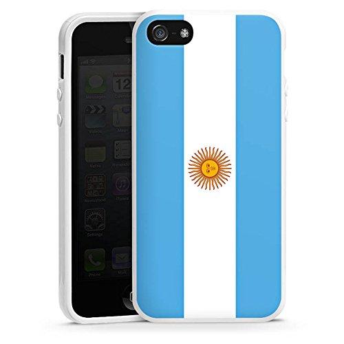 Apple iPhone SE Housse Outdoor Étui militaire Coque Argentin Drapeau Argentine Housse en silicone blanc