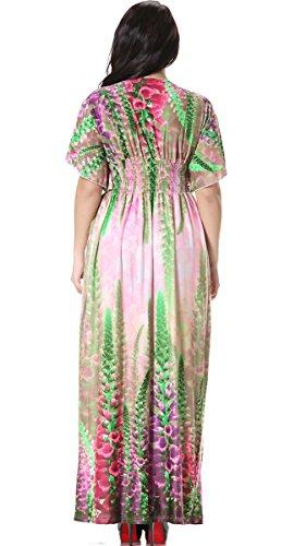 Feoya Retro Kleid V-Ausschnit Hohe Taille Kleid Elegant Sommerkleid Maxikleid mit Blumen Print Größe Größen Mehrfarbig