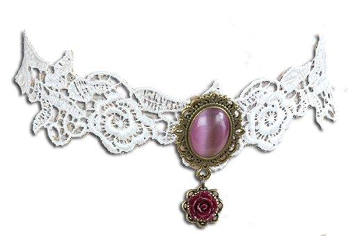 Halsband White Roses Lace weiße Spitze mit Rosen weinroter Glasstein - Kleidung Toms