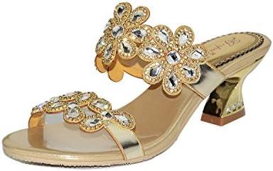 unicoratha Mujer Oro Floral Grueso de tacón bajo Slip On Diamantes Fiesta Boda Zapatos Sandalias