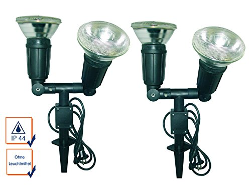 2er SET Gartenscheinwerfer mit Erdspieß, 120° drehbar, IP44, für PAR38 100W