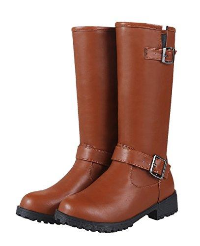 PU Tacco Zip Unie Couleur Femme Cuir Bottes Rond AgeeMi Brun Shoes Basso EAqW1