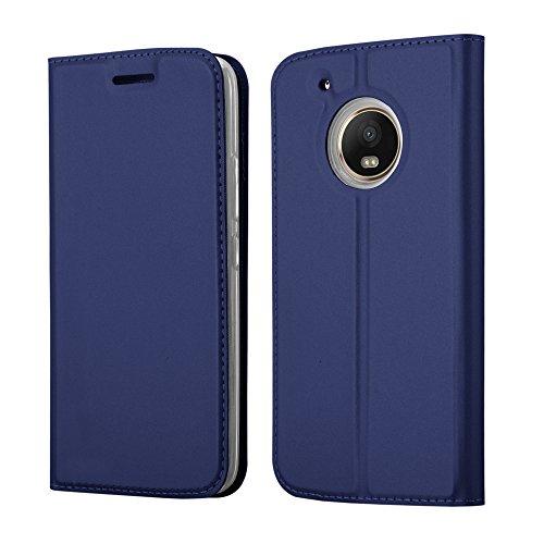 Cadorabo Hülle für Motorola Moto G5 Plus - Hülle in DUNKEL BLAU – Handyhülle mit Standfunktion und Kartenfach im Metallic Look - Case Cover Schutzhülle Etui Tasche Book Klapp Style