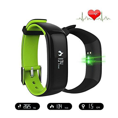 Fitness Tracker, IP67 Wasserdichte Bluetooth Aktivitäts Tracker Pulsmesser Blutdruckmessgerät Schrittzähler, SMS Benachrichtigung, eingehende Anrufanzeige, Kalorienverbrauch und Distanzmonitor, Multifunktions-APP Kompatibel mit Android und IOS System Smart Phones (Grün)
