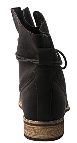 Elara Damen Stiefelette | Biker Boots | Trendy Lederoptik | Chunkyrayan Schwarz 4