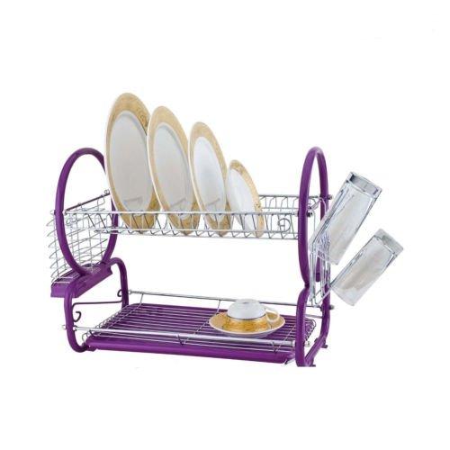 2Tier escurreplatos cromado accesorio de con cristal para utensilios cesta para cubiertos y bandeja de goteo morado