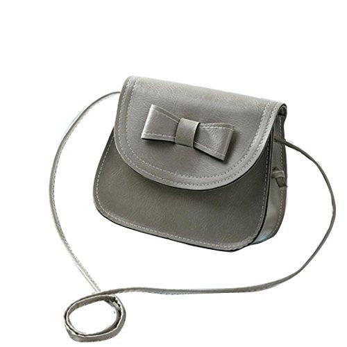 Vovotrade messenger bag di spalla delle donne di Bowknot Borsa in pelle (Nero) Grigio