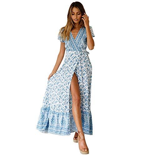 Starlifey Damen Sommer Böhmisches Kleid Floral Abendkleid Maxikleid Maxi Kleider Floral Maxi Kleid