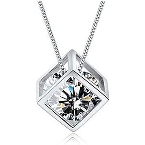 Generic Claro Lab Diamond Box Forma collar plateado plata Cubo collar Cubic Zirconia Mujeres