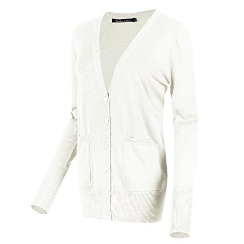 Urban GoCo Damen Strickjacke Cardigan mit V-Ausschnitt (M, Weiß)