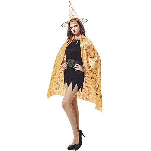 (BHXUD Halloween-Kostüm Erwachsene Kürbis-Mantel Show Ball Kürbis Cape Hat,Orange)