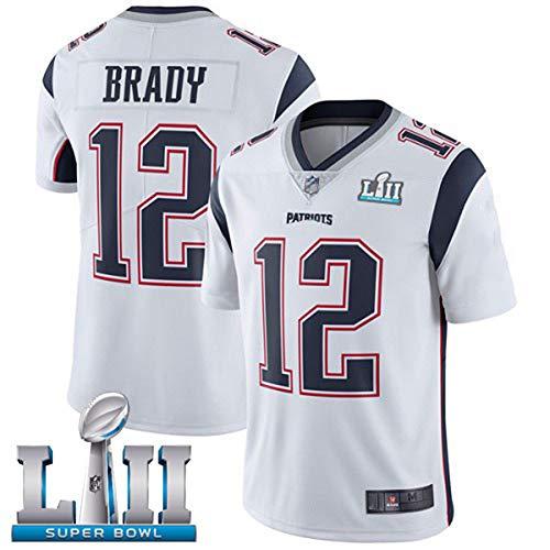 HXSON 12# Tom Brady New England Patriots Rugby Trikot Fußball Trikot-Herren Poloshirt Trainingshemden Kindersportbekleidung Mesh Schnelltrocknend Langarm Fans Sweatshirt-White-XXL
